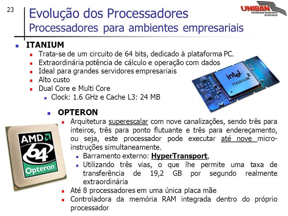 23 ITANIUM Trata-se de um circuito de 64 bits, dedicado à plataforma PC. Extraordinária potência de cálculo e operação com dados Ideal para grandes se