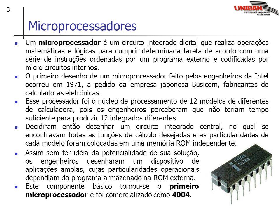 3 Microprocessadores Um microprocessador é um circuito integrado digital que realiza operações matemáticas e lógicas para cumprir determinada tarefa de acordo com uma série de instruções ordenadas por um programa externo e codificadas por micro circuitos internos.