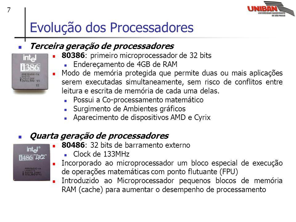 7 Evolução dos Processadores Terceira geração de processadores 80386: primeiro microprocessador de 32 bits Endereçamento de 4GB de RAM Modo de memória