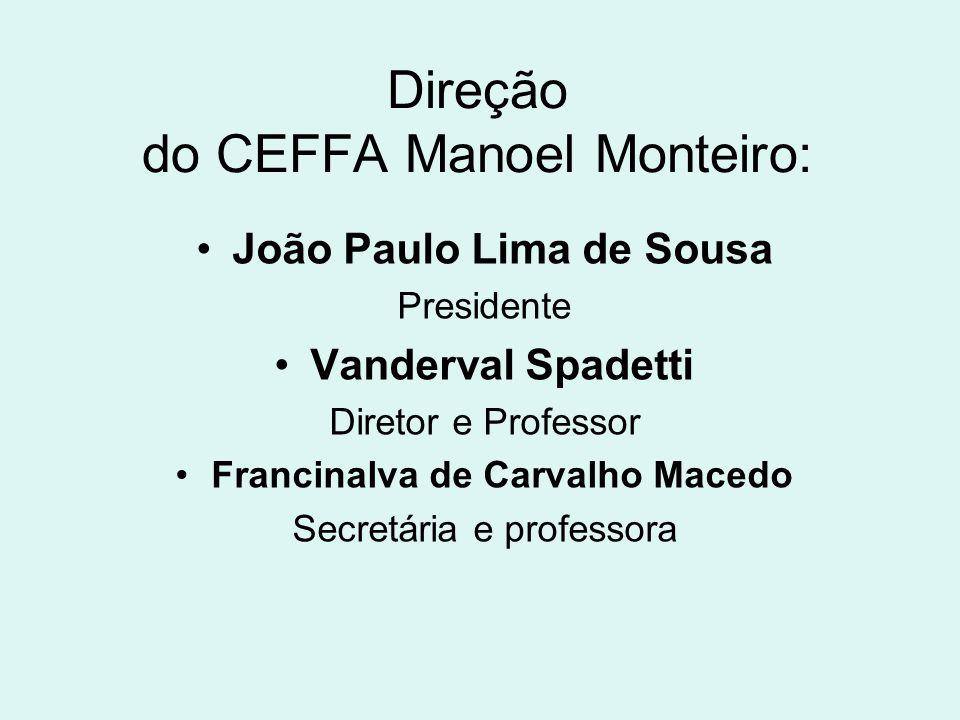 Direção do CEFFA Manoel Monteiro: João Paulo Lima de Sousa Presidente Vanderval Spadetti Diretor e Professor Francinalva de Carvalho Macedo Secretária