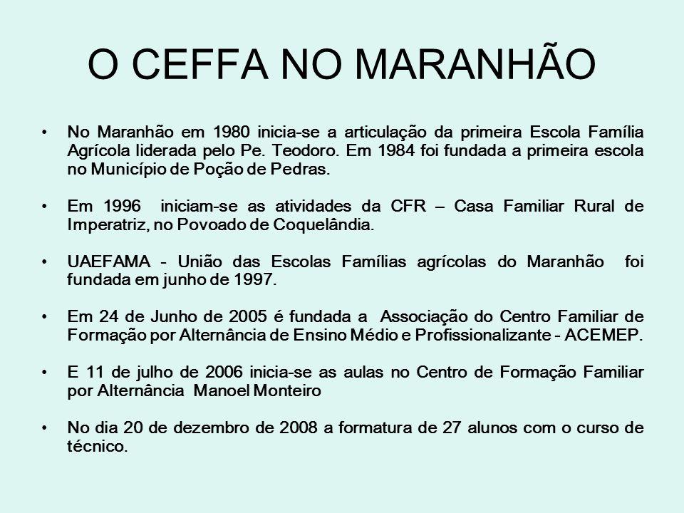 O CEFFA NO MARANHÃO No Maranhão em 1980 inicia-se a articulação da primeira Escola Família Agrícola liderada pelo Pe. Teodoro. Em 1984 foi fundada a p