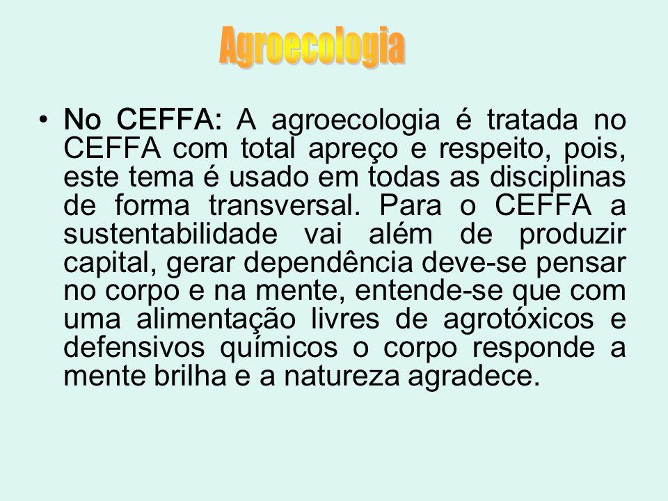 No CEFFA: A agroecologia é tratada no CEFFA com total apreço e respeito, pois, este tema é usado em todas as disciplinas de forma transversal. Para o