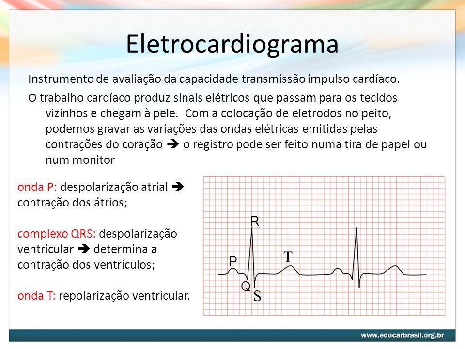 Eletrocardiograma Instrumento de avaliação da capacidade transmissão impulso cardíaco. O trabalho cardíaco produz sinais elétricos que passam para os