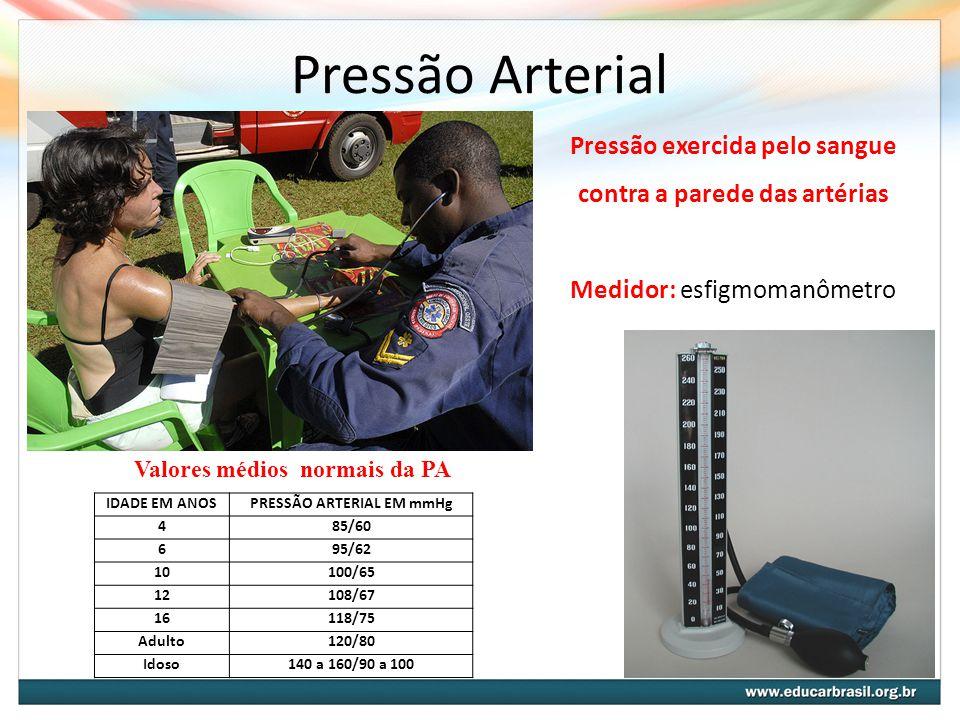 Pressão Arterial Pressão exercida pelo sangue contra a parede das artérias Medidor: esfigmomanômetro IDADE EM ANOSPRESSÃO ARTERIAL EM mmHg 485/60 695/