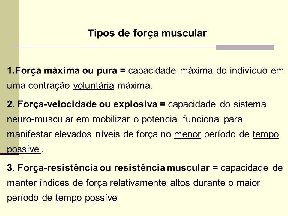 T ipos de força muscular 1.Força máxima ou pura = capacidade máxima do indivíduo em uma contração voluntária máxima. 2. Força-velocidade ou explosiva