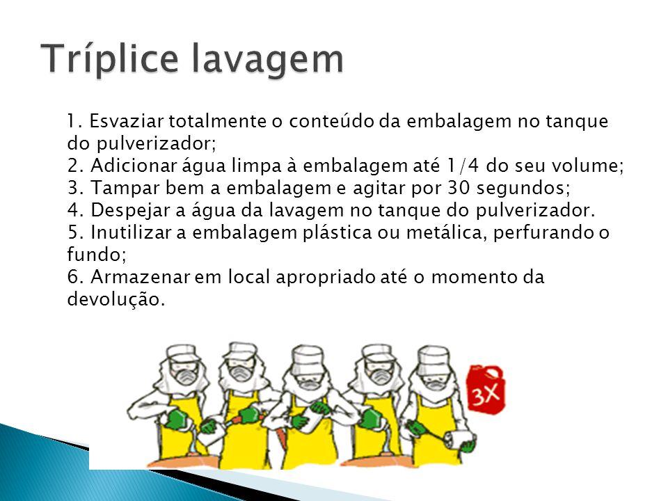 1. Esvaziar totalmente o conteúdo da embalagem no tanque do pulverizador; 2. Adicionar água limpa à embalagem até 1/4 do seu volume; 3. Tampar bem a e