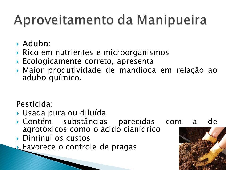  Adubo:  Rico em nutrientes e microorganismos  Ecologicamente correto, apresenta  Maior produtividade de mandioca em relação ao adubo químico. Pes