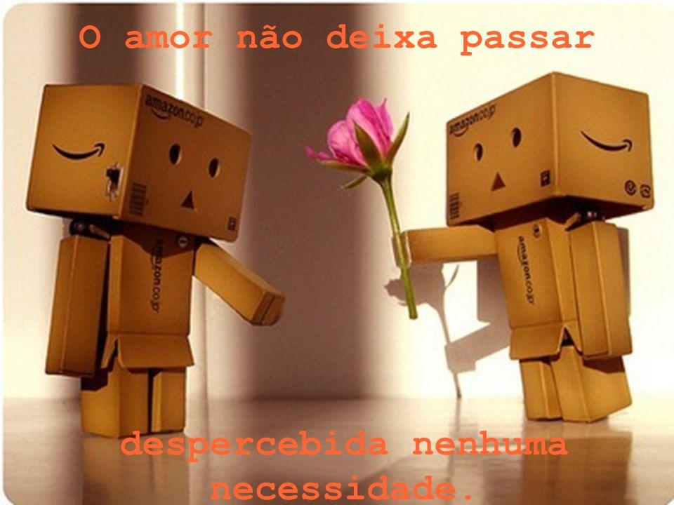 O amor não deixa passar despercebida nenhuma necessidade.