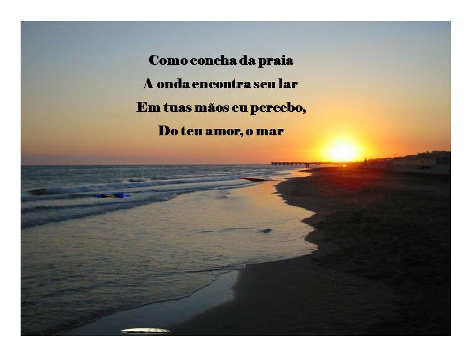 Como concha da praia A onda encontra seu lar Em tuas mãos eu percebo, Do teu amor, o mar