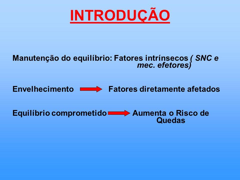 INTRODUÇÃO Manutenção do equilíbrio: Fatores intrínsecos ( SNC e mec.