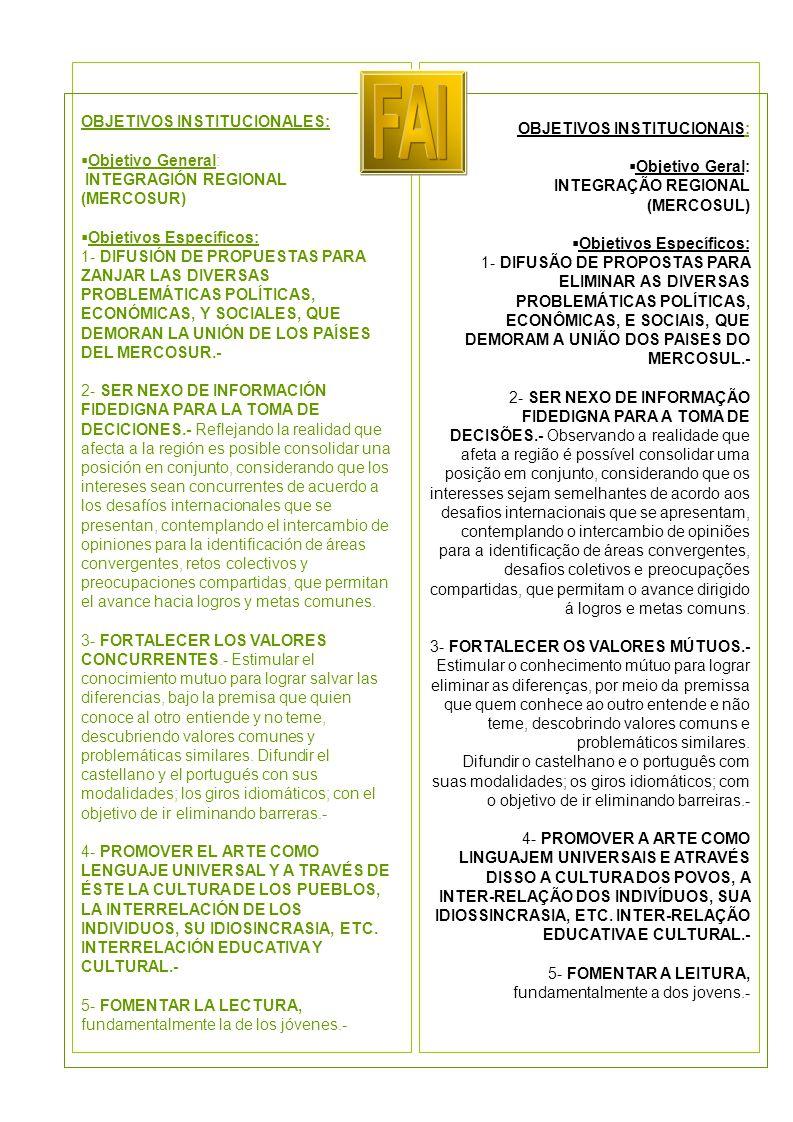 OBJETIVOS INSTITUCIONALES:  Objetivo General: INTEGRAGIÓN REGIONAL (MERCOSUR)  Objetivos Específicos: 1- DIFUSIÓN DE PROPUESTAS PARA ZANJAR LAS DIVERSAS PROBLEMÁTICAS POLÍTICAS, ECONÓMICAS, Y SOCIALES, QUE DEMORAN LA UNIÓN DE LOS PAÍSES DEL MERCOSUR.- 2- SER NEXO DE INFORMACIÓN FIDEDIGNA PARA LA TOMA DE DECICIONES.- Reflejando la realidad que afecta a la región es posible consolidar una posición en conjunto, considerando que los intereses sean concurrentes de acuerdo a los desafíos internacionales que se presentan, contemplando el intercambio de opiniones para la identificación de áreas convergentes, retos colectivos y preocupaciones compartidas, que permitan el avance hacia logros y metas comunes.