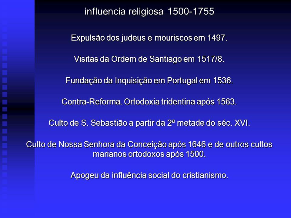 influencia religiosa 1500-1755 Expulsão dos judeus e mouriscos em 1497.