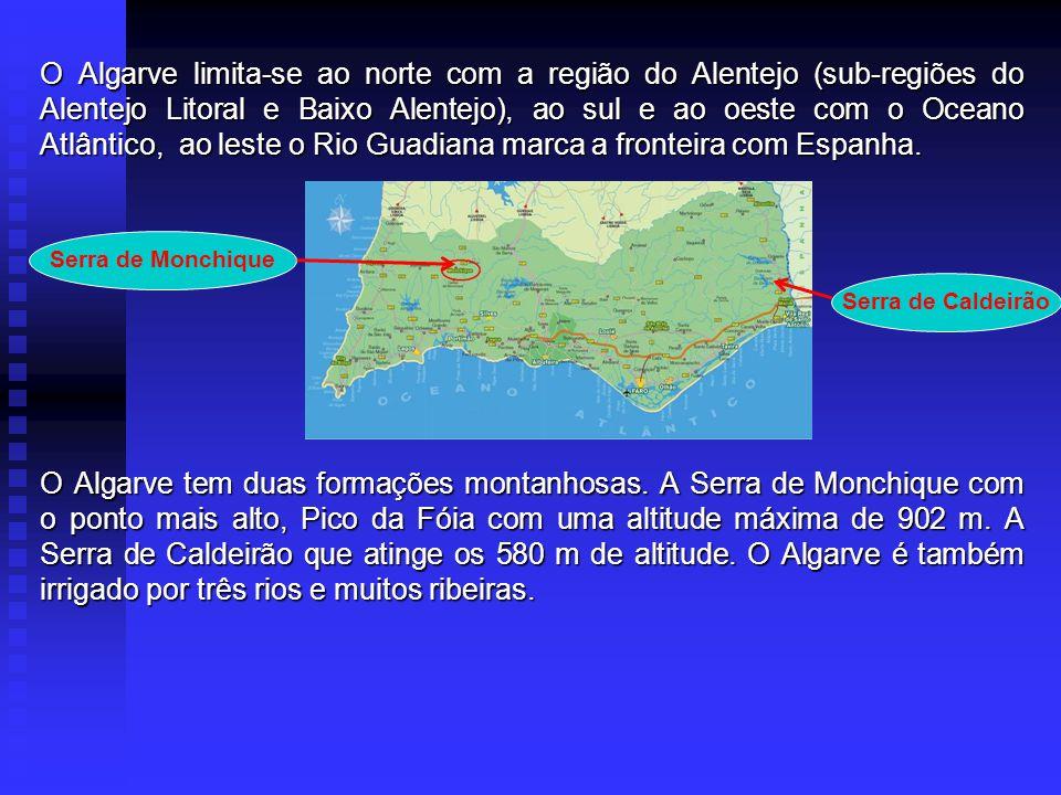 O Algarve limita-se ao norte com a região do Alentejo (sub-regiões do Alentejo Litoral e Baixo Alentejo), ao sul e ao oeste com o Oceano Atlântico, ao leste o Rio Guadiana marca a fronteira com Espanha.