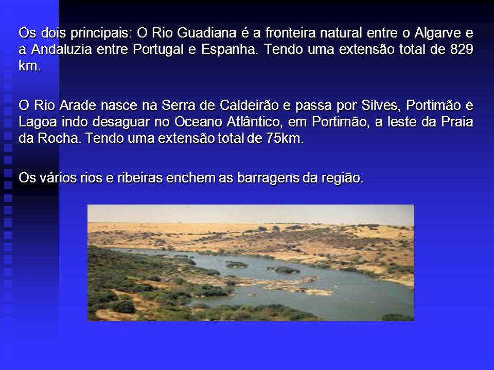 Os dois principais: O Rio Guadiana é a fronteira natural entre o Algarve e a Andaluzia entre Portugal e Espanha.