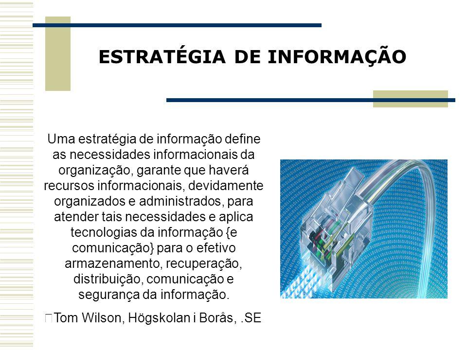 ESTRATÉGIA DE INFORMAÇÃO Uma estratégia de informação define as necessidades informacionais da organização, garante que haverá recursos informacionais