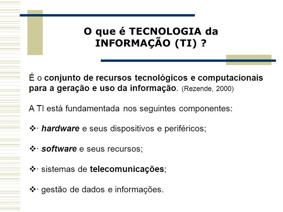 Capa da Obra O que é TECNOLOGIA da INFORMAÇÃO (TI) ? É o conjunto de recursos tecnológicos e computacionais para a geração e uso da informação. (Rezen