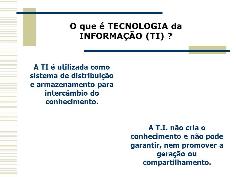A TI é utilizada como sistema de distribuição e armazenamento para intercâmbio do conhecimento. O que é TECNOLOGIA da INFORMAÇÃO (TI) ? A T.I. não cri