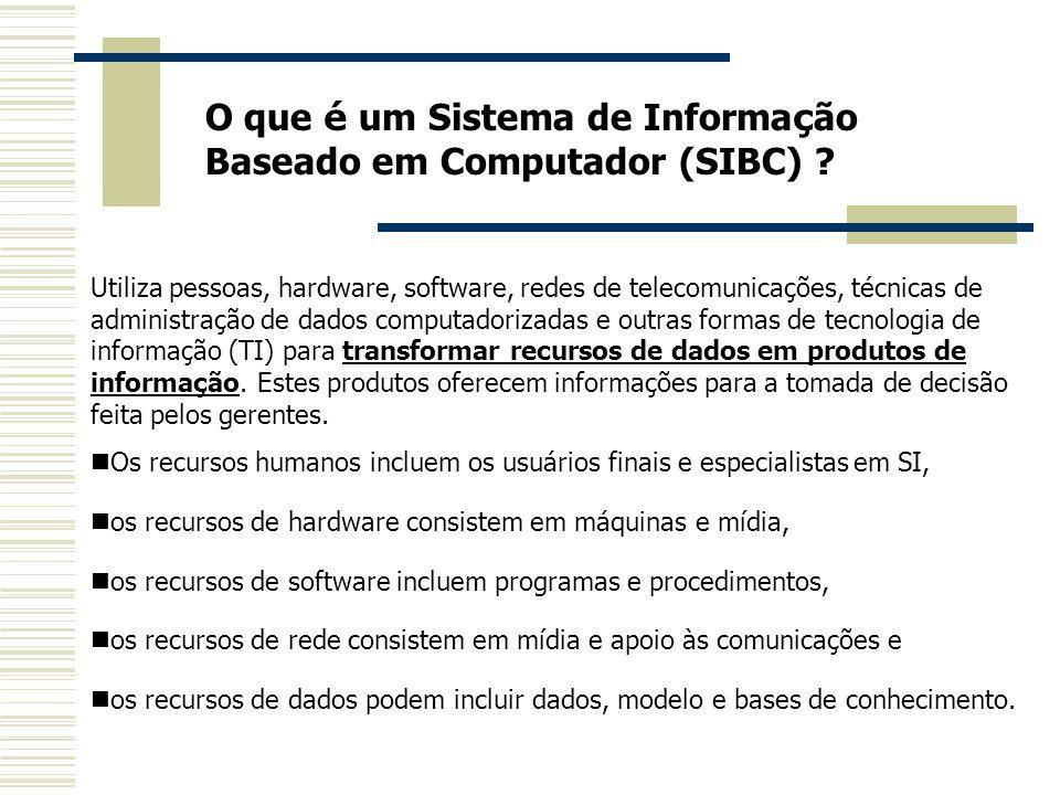 O que é um Sistema de Informa ç ão Baseado em Computador (SIBC) ? Utiliza pessoas, hardware, software, redes de telecomunicações, técnicas de administ