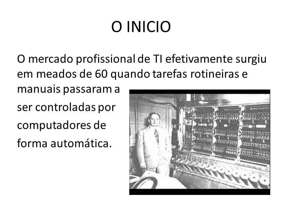 O INICIO O mercado profissional de TI efetivamente surgiu em meados de 60 quando tarefas rotineiras e manuais passaram a ser controladas por computadores de forma automática.