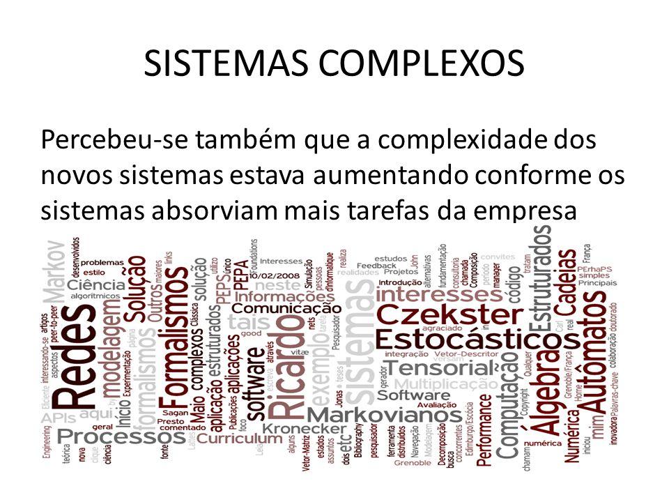 SISTEMAS COMPLEXOS Percebeu-se também que a complexidade dos novos sistemas estava aumentando conforme os sistemas absorviam mais tarefas da empresa