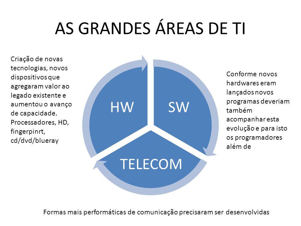 AS GRANDES ÁREAS DE TI SW TELECOM HW Criação de novas tecnologias, novos dispositivos que agregaram valor ao legado existente e aumentou o avanço de capacidade.