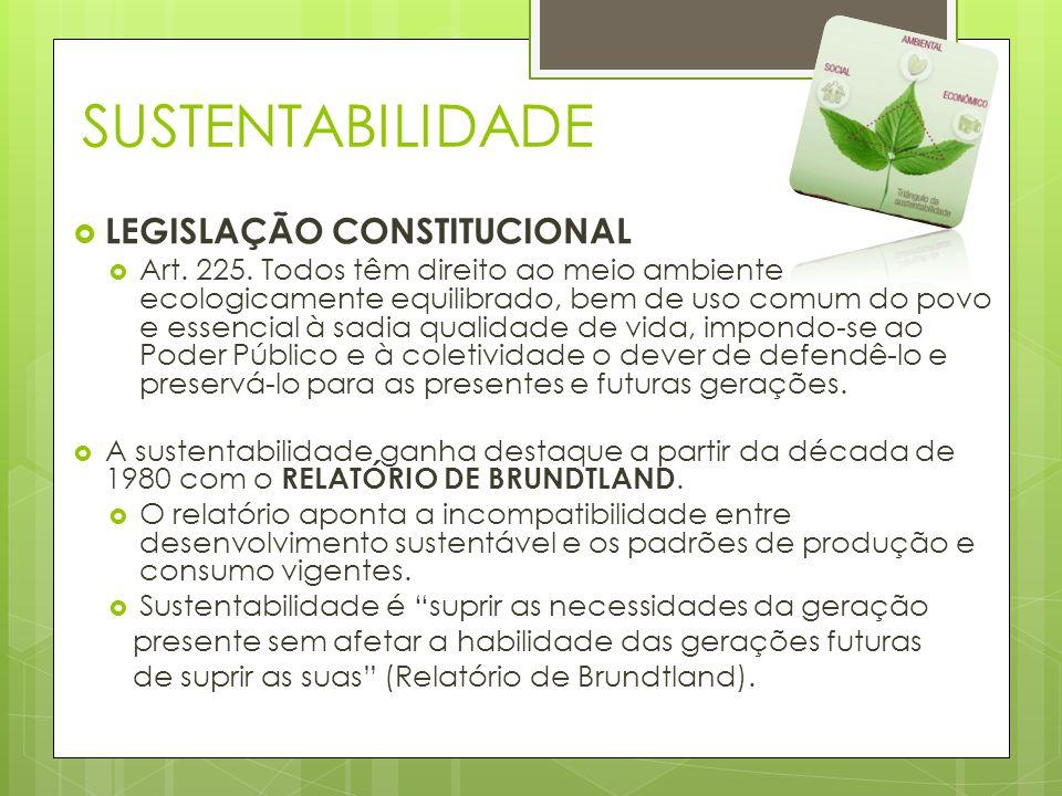 SUSTENTABILIDADE  LEGISLAÇÃO CONSTITUCIONAL  Art. 225. Todos têm direito ao meio ambiente ecologicamente equilibrado, bem de uso comum do povo e ess