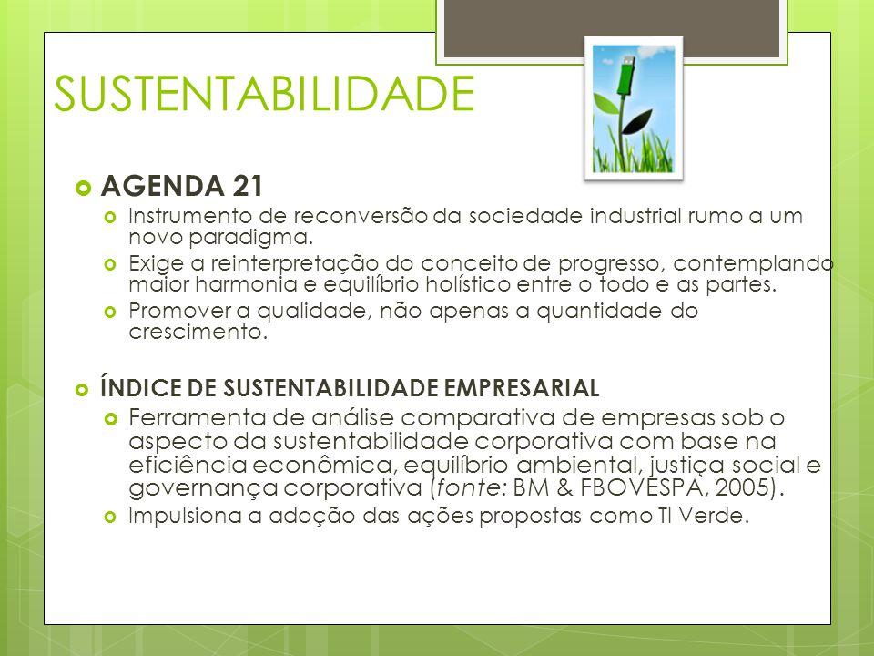 SUSTENTABILIDADE  AGENDA 21  Instrumento de reconversão da sociedade industrial rumo a um novo paradigma.  Exige a reinterpretação do conceito de p
