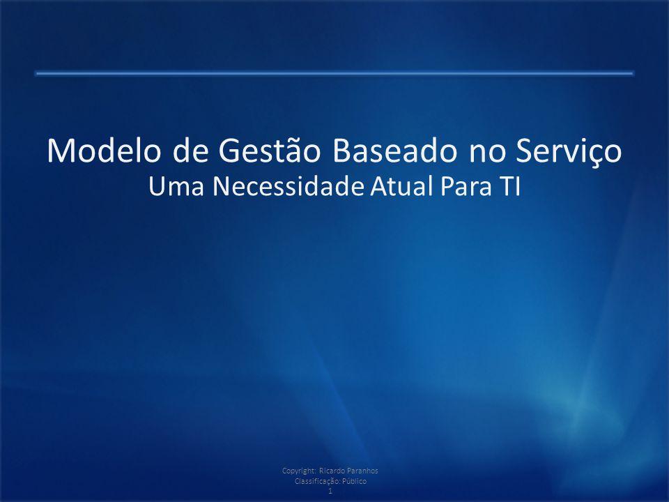 Copyright: Ricardo Paranhos Classificação: Público 1 Modelo de Gestão Baseado no Serviço Uma Necessidade Atual Para TI