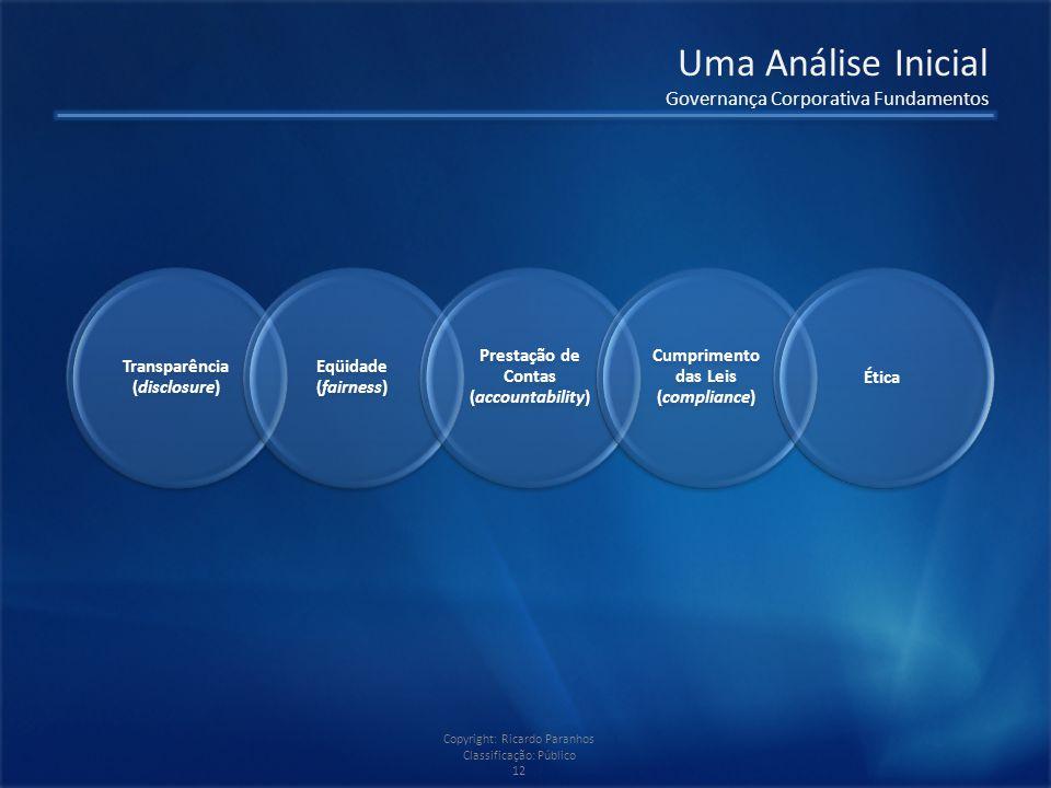 Copyright: Ricardo Paranhos Classificação: Público 12 Uma Análise Inicial Governança Corporativa Fundamentos Transparência (disclosure) Eqüidade (fairness) Prestação de Contas (accountability) Cumprimento das Leis (compliance) Ética