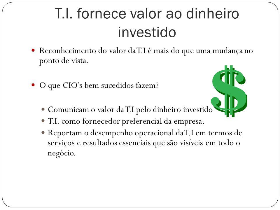 T.I. fornece valor ao dinheiro investido Reconhecimento do valor da T.I é mais do que uma mudança no ponto de vista. O que CIO's bem sucedidos fazem?