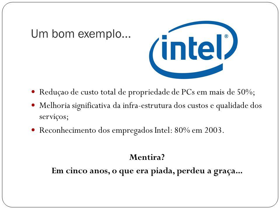 Reduçao de custo total de propriedade de PCs em mais de 50%; Melhoria significativa da infra-estrutura dos custos e qualidade dos serviços; Reconhecimento dos empregados Intel: 80% em 2003.