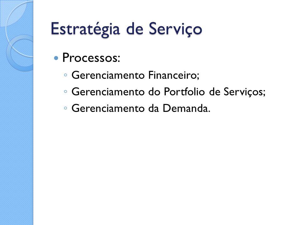 Estratégia de Serviço Processos: ◦ Gerenciamento Financeiro; ◦ Gerenciamento do Portfolio de Serviços; ◦ Gerenciamento da Demanda.