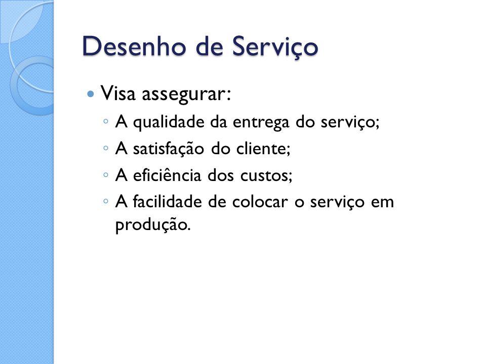Desenho de Serviço Visa assegurar: ◦ A qualidade da entrega do serviço; ◦ A satisfação do cliente; ◦ A eficiência dos custos; ◦ A facilidade de coloca