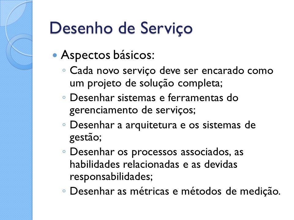 Desenho de Serviço Aspectos básicos: ◦ Cada novo serviço deve ser encarado como um projeto de solução completa; ◦ Desenhar sistemas e ferramentas do g