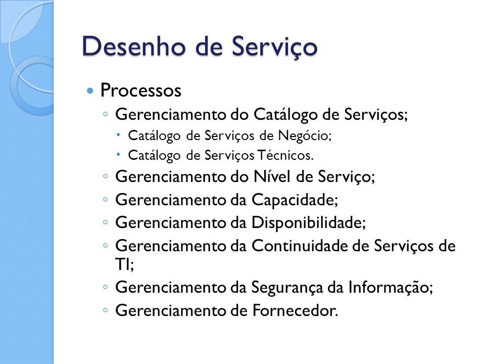 Desenho de Serviço Processos ◦ Gerenciamento do Catálogo de Serviços;  Catálogo de Serviços de Negócio;  Catálogo de Serviços Técnicos. ◦ Gerenciame