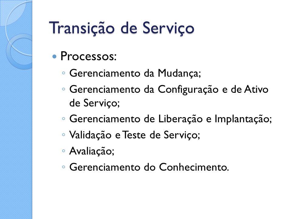 Transição de Serviço Processos: ◦ Gerenciamento da Mudança; ◦ Gerenciamento da Configuração e de Ativo de Serviço; ◦ Gerenciamento de Liberação e Impl