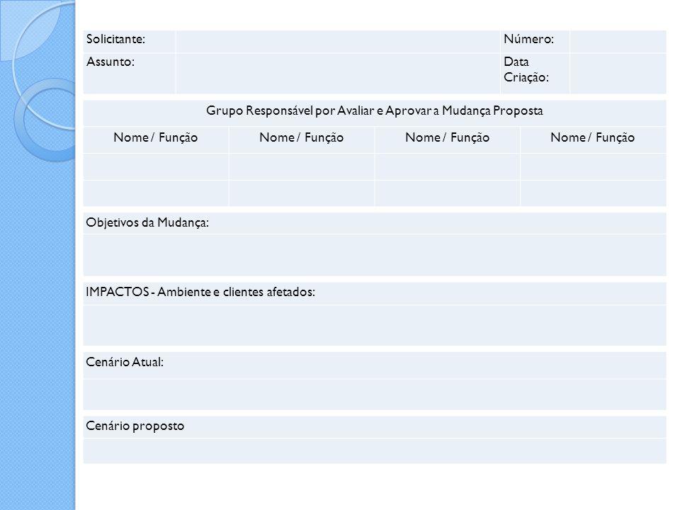 Solicitante: Número: Assunto: Data Criação: Grupo Responsável por Avaliar e Aprovar a Mudança Proposta Nome / Função Objetivos da Mudança: IMPACTOS -
