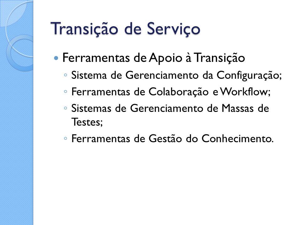 Transição de Serviço Ferramentas de Apoio à Transição ◦ Sistema de Gerenciamento da Configuração; ◦ Ferramentas de Colaboração e Workflow; ◦ Sistemas