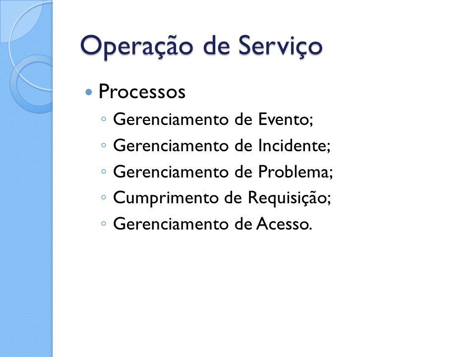 Operação de Serviço Processos ◦ Gerenciamento de Evento; ◦ Gerenciamento de Incidente; ◦ Gerenciamento de Problema; ◦ Cumprimento de Requisição; ◦ Ger