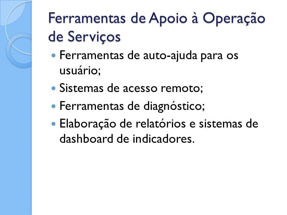 Ferramentas de Apoio à Operação de Serviços Ferramentas de auto-ajuda para os usuário; Sistemas de acesso remoto; Ferramentas de diagnóstico; Elaboraç