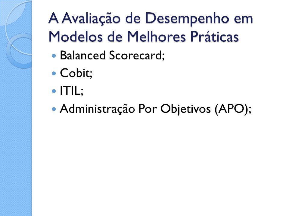A Avaliação de Desempenho em Modelos de Melhores Práticas Balanced Scorecard; Cobit; ITIL; Administração Por Objetivos (APO);