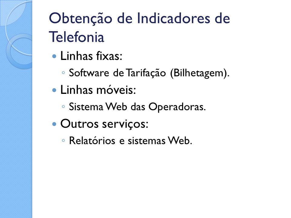Obtenção de Indicadores de Telefonia Linhas fixas: ◦ Software de Tarifação (Bilhetagem). Linhas móveis: ◦ Sistema Web das Operadoras. Outros serviços: