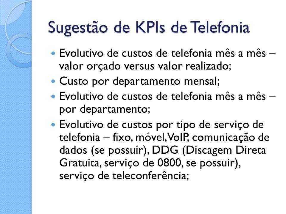 Sugestão de KPIs de Telefonia Evolutivo de custos de telefonia mês a mês – valor orçado versus valor realizado; Custo por departamento mensal; Evoluti