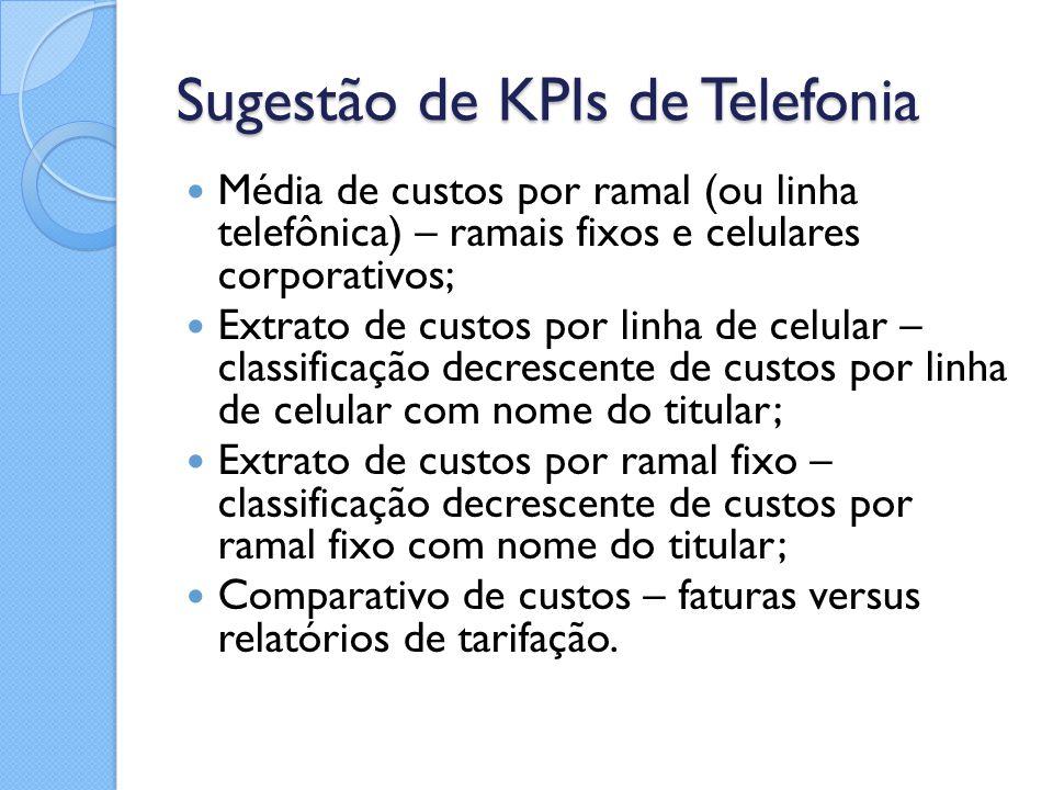 Sugestão de KPIs de Telefonia Média de custos por ramal (ou linha telefônica) – ramais fixos e celulares corporativos; Extrato de custos por linha de