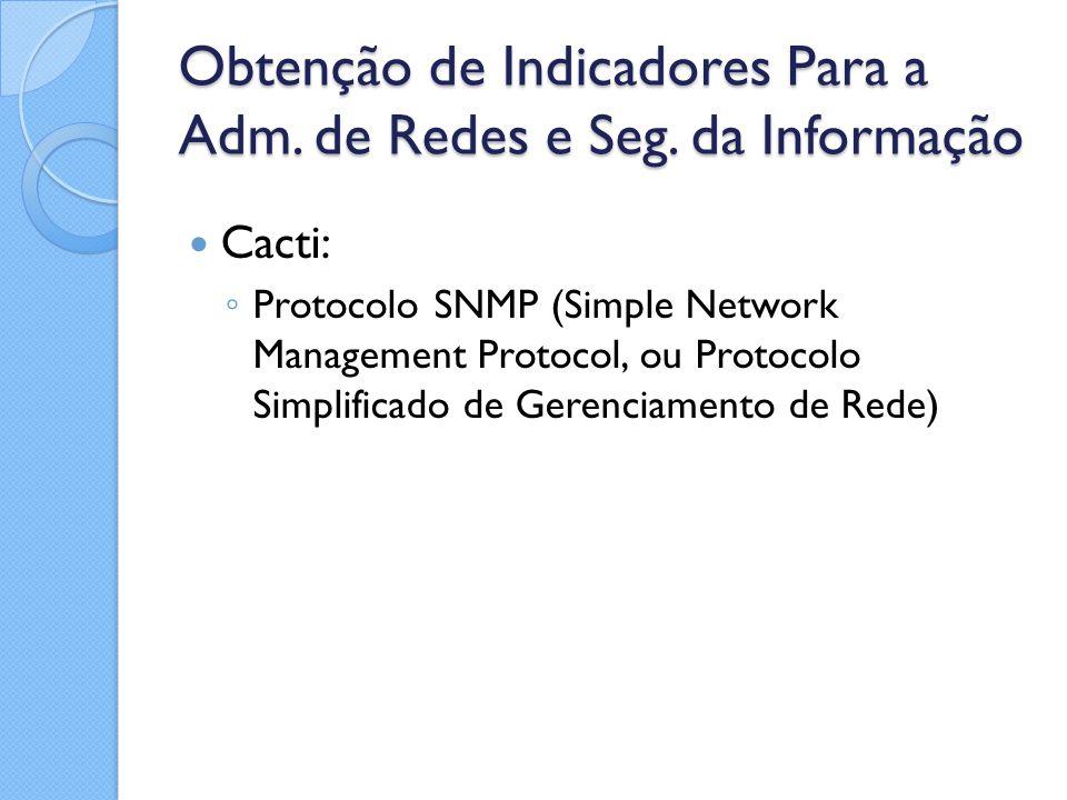 Obtenção de Indicadores Para a Adm. de Redes e Seg. da Informação Cacti: ◦ Protocolo SNMP (Simple Network Management Protocol, ou Protocolo Simplifica