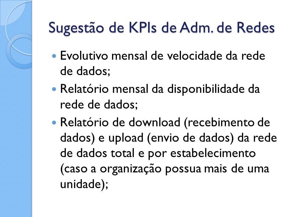 Sugestão de KPIs de Adm. de Redes Evolutivo mensal de velocidade da rede de dados; Relatório mensal da disponibilidade da rede de dados; Relatório de