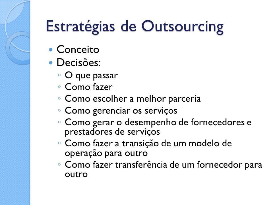 Estratégias de Outsourcing Conceito Decisões: ◦ O que passar ◦ Como fazer ◦ Como escolher a melhor parceria ◦ Como gerenciar os serviços ◦ Como gerar