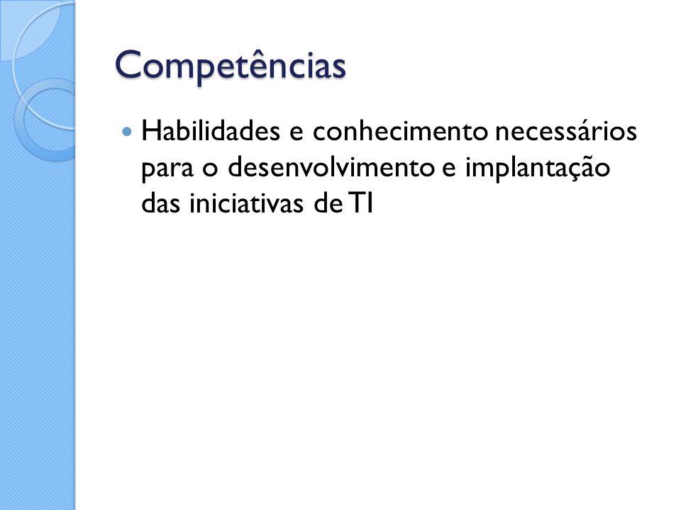 Competências Habilidades e conhecimento necessários para o desenvolvimento e implantação das iniciativas de TI
