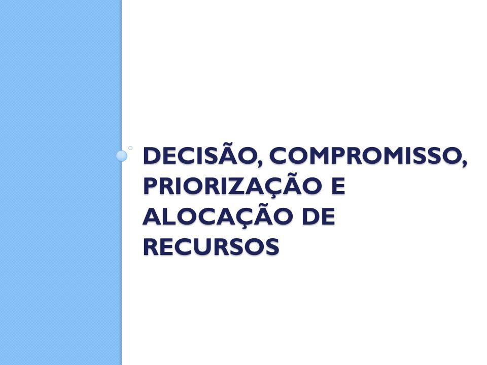 DECISÃO, COMPROMISSO, PRIORIZAÇÃO E ALOCAÇÃO DE RECURSOS