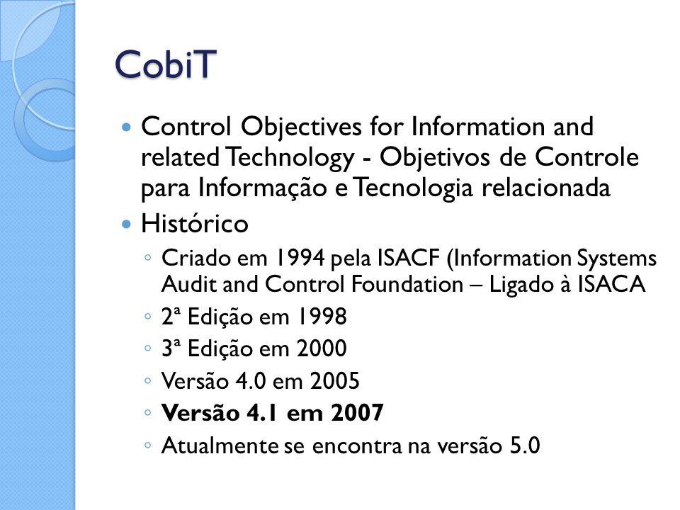 CobiT Control Objectives for Information and related Technology - Objetivos de Controle para Informação e Tecnologia relacionada Histórico ◦ Criado em